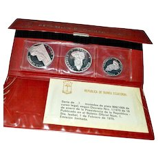 Silver Three Coin Set Republica de Guinea Ecuatorial