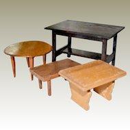 Four Wood Dollhouse Tables As Is