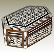 Ring or Trinket Box Mosaic Wood and Mother of Pearl