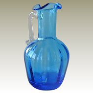 Small Blue Glass Pitcher Creamer