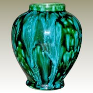 Vase Drip Glazed Intense Blues and Greens