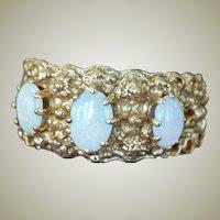Three Opal Ring 14K Yellow Gold
