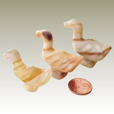 Three Carved Stone Miniature Duck Figurines