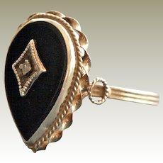 Vintage Ring Onyx and Diamond 14 Karat Yellow Gold