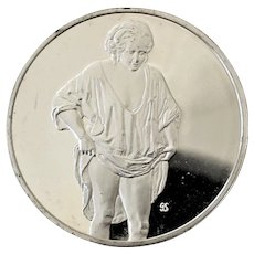 Large Sterling Silver Medallion 100 Greatest Masterpieces Woman Bathing