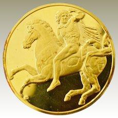 Large Silver Medallion Greek Horseman 100 Greatest Masterpieces