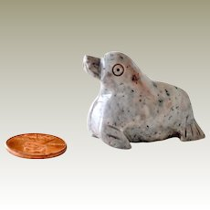 Miniature Stone Seal Figurine Pink Grey