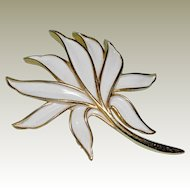 Trifari Stylized Leaf Pin Brooch White Enamel