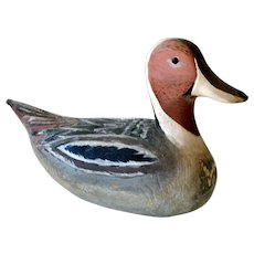 Carved Wood Duck Decoy Signed Yertes 1974 Seaford Delaware
