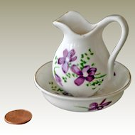 Miniature Wash Basin and Pitcher with Violets