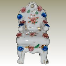 Miniature Porcelain Chair Applied Flowers Occupied Japan