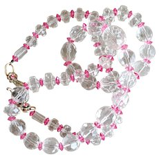 Necklace Clear and Pink Glass Crystal Beads