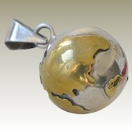 Sterling Silver Pendant or Charm Music Chime Globe Mexico