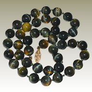 Necklace Vintage Dark Tiger Eye Banded Beads 14K Gold Clasp