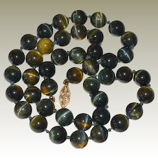 Necklace Vintage Dark Tiger Eye Banded Beads 14K Gold Clasp