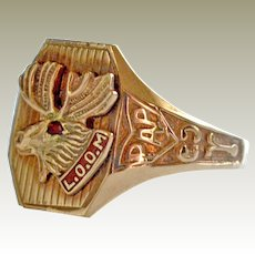 Ring Loyal Order of Moose LOOM 10k Gold