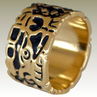 Wide Thick Cigar Band Ring 14k Gold 10 Grams