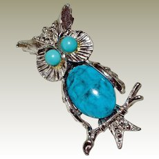 Pin Perched Owl Glass Turquoise Belly