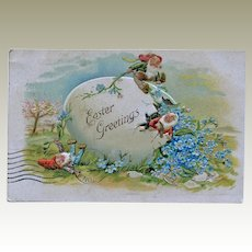Easter Postcard Gnomes Elves on Egg Germany