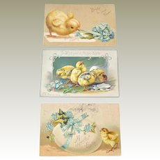 Three Postcards Easter Baby Chickens Tuck and Germany
