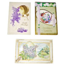 Three Embossed Easter Postcards