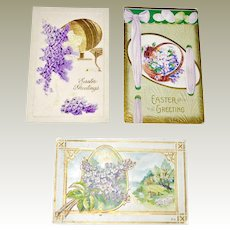 Three Embossed Easter Postcards
