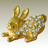 Rhinestone Rabbit Lapel Pin