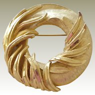 Hefty BSK Pin Brooch  Raised Wreath Form