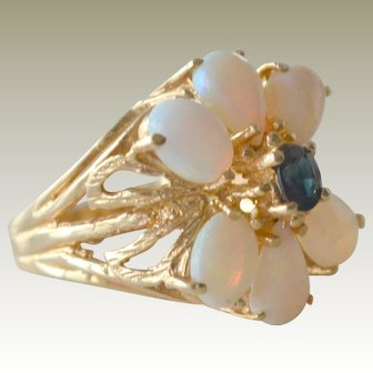 Opal and Sapphire 14K Gold Ring Seven Grams Plus