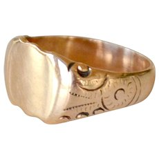 Signet Ring 14k yellow Gold Ready for Monogram 6 Grams