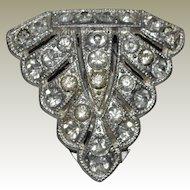 Deco Era Rhinestone Pin or Fur Clip Marked Goody