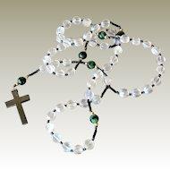 Rosary Glass Beads Non Magnetic Hematite Cross
