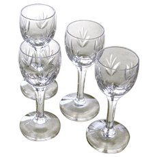 Four Vintage  Glass Cordials Incised Leaf Pattern