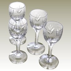 Four Vintage  Glass Cordials Incised Leaf Pattern