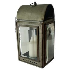 Metal Candle Lantern with Thick Bevel Glass