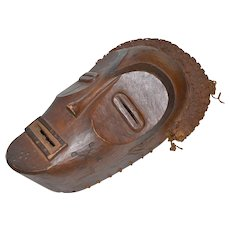 Tribal or Ethnic Wooden Mask with Woven Raffia and Carved Symbols