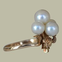 Cultured Pearl and 14k Rose Gold Ring Exquisite Setting