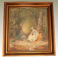 Watercolor Painting William Magrath 1874 Woman with Chipmunk
