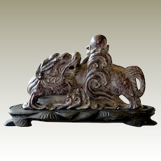 Carved Stone Chinese Serpent Like Foo Dog or Lion