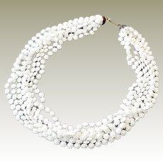 West Germany Necklace Eight Strands White Flowers 24 Inches