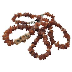 Necklace Natural Amber with Bone Dragon Fly Bead