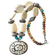 Necklace Early Plastic Huge Beads Inlaid Pendant