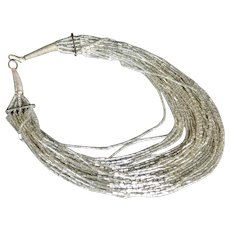 Torsade Necklace 24 Strands Glass Tube Silver Color Lined Beads
