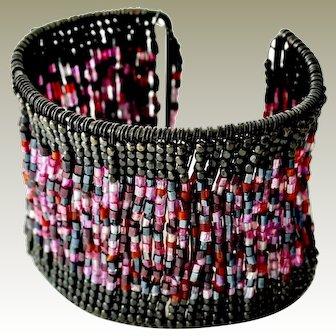 Wide Wire Cuff Bracelet Seed Beads