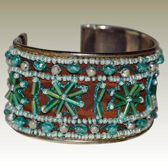Wide Cuff Bracelet Beaded Blue Floral Design