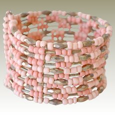 Wide Cuff Bracelet Coral Glass Beads