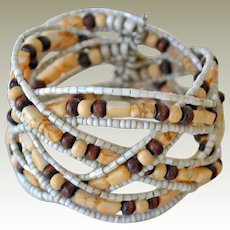 Bracelet Wide Cuff with Crossover Rows of Beads on Wire