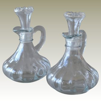 Pair Cruets Vinegar and Oil Ribbed with Stoppers