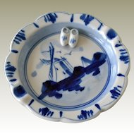 Blue and White Ashtray with Windmill and Applied Raised Clogs