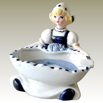 Dutch Girl Ashtray Blue and White Porcelain